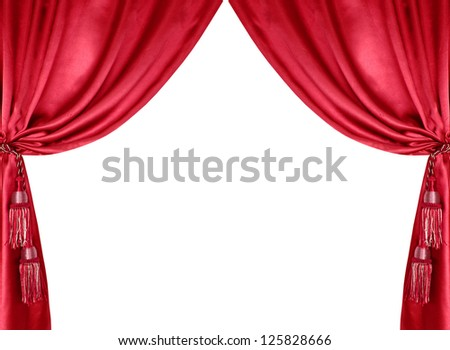 red silk curtain with tassels isolated on white background - stock photo