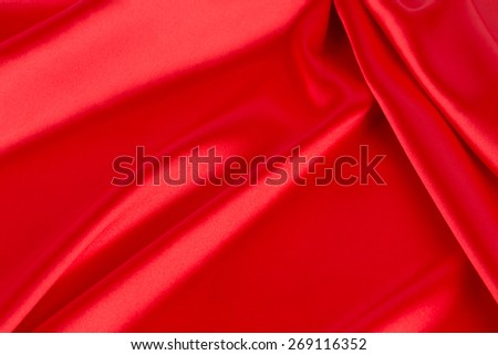 Red silk drapery close up. Whole background. - stock photo