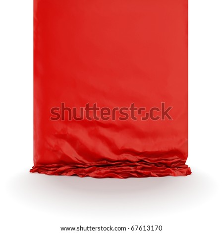 Red silk drapery. Isolated on white background. - stock photo