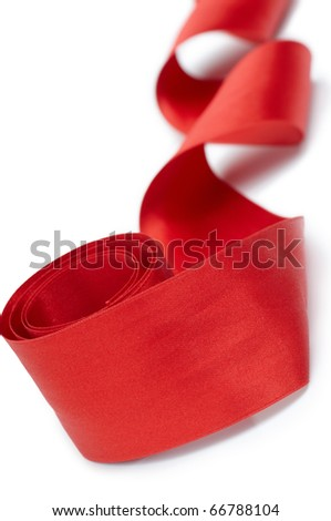red silk ribbon on the white background