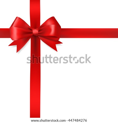 red silky bow ribbon on white background. holidays gift symbol decorative design element. raster