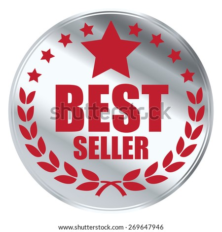 red silver circle best seller sticker, tag, sign, icon, label isolated on white - stock photo