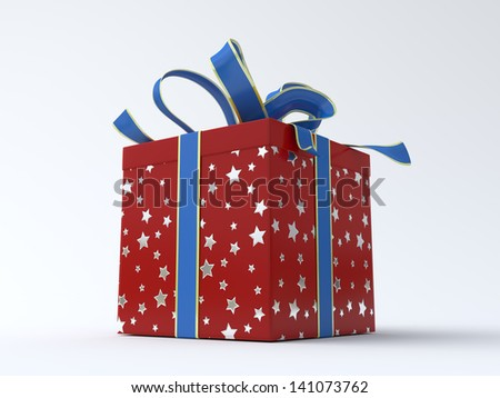 Red - silver star gift box with blue ribbon - stock photo