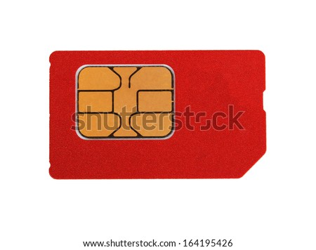 red sim card isolated on white background - stock photo