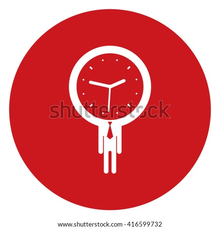 Red Simple Circle Businessman With Time Clock Head Infographics Flat Icon, Sign Isolated on White Background  - stock photo