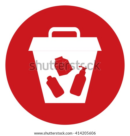 Red Simple Circle Litter Bin Infographics Flat Icon, Sign Isolated on White Background - stock photo