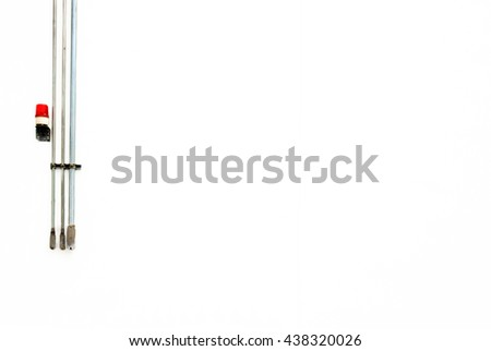 red siren and metal pipe on a white background - stock photo