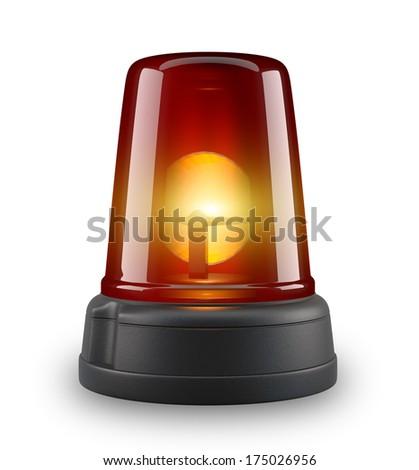 Red siren - 3d illustration on white background  - stock photo