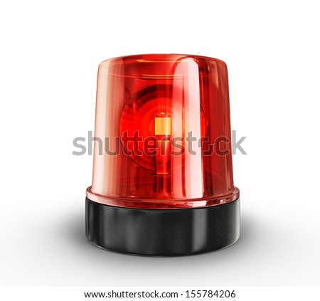 red siren isolated on a white background - stock photo