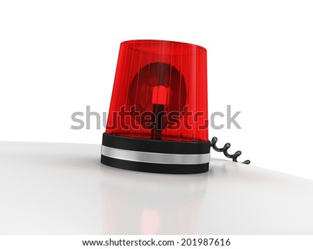 Red Siren on top of Ambulance Car isolated on white background - stock photo