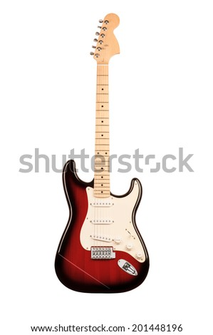 red six-stringed electric guitar isolated on white background - stock photo