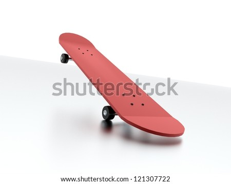 Red skateboard isolated on white - stock photo