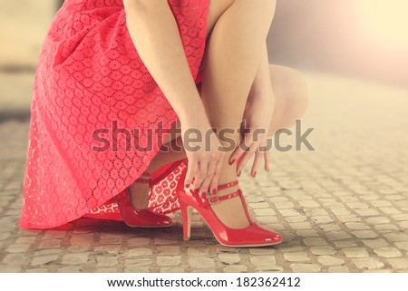 red skirt and summer sun  - stock photo