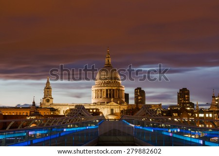 Red sky over St. Paul's cathedral, London, England