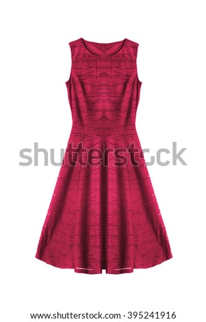 Red sleeveless cocktail dress on white background - stock photo