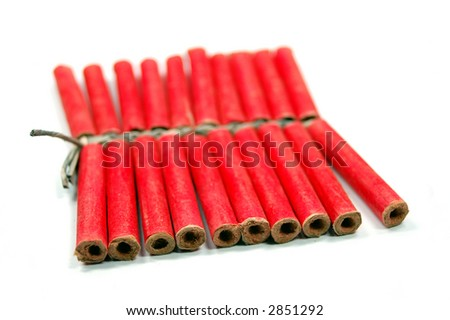 red small firecrackers with small fuse - stock photo
