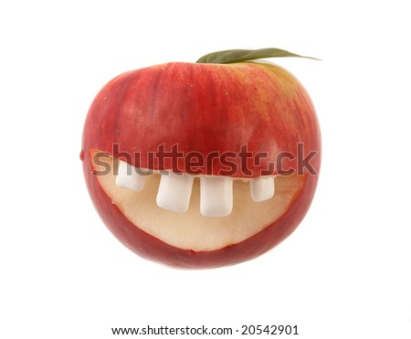 Red smiling apple on a white background.