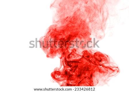 Red smoke isolated on white background - stock photo