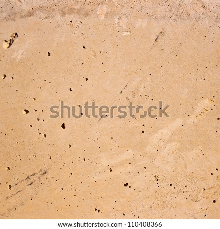 Red smooth wall with some holes. - stock photo