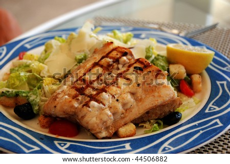 Red snapper over salad dinner - stock photo