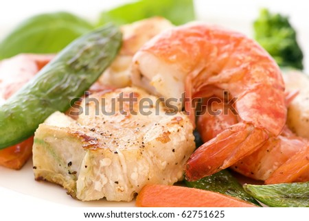 Red Snapper with Shrimp and Vegetable - stock photo