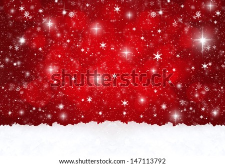 red snow background - stock photo