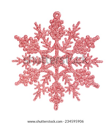 Red snowflake isolated on the white - stock photo