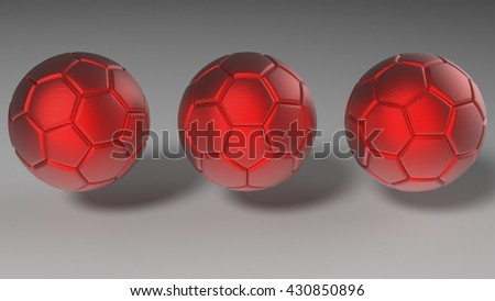 Red soccer balls. 3D illustration. 3D CG. Format 16:9.