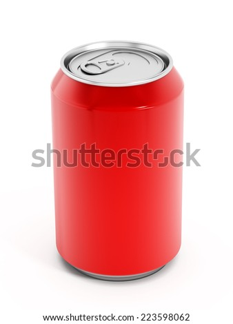 Red soda can isolated on white.