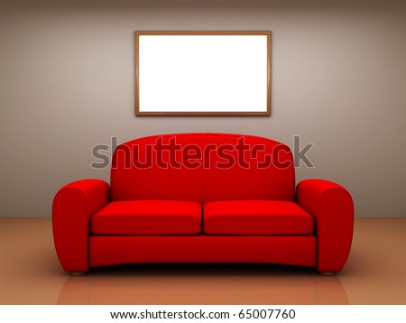 Red sofa in a room with a blank picture. 3D - stock photo