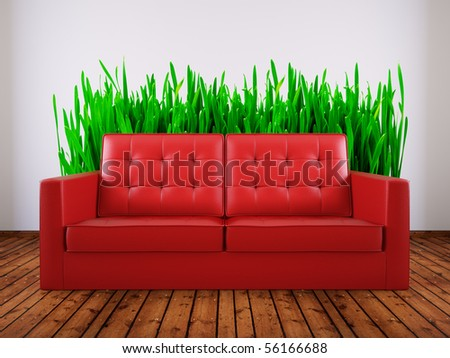 red sofa in room with grass picture on the wall - stock photo