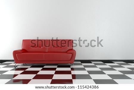 Red sofa in the room - High quality render - stock photo