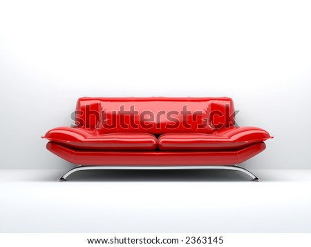 red sofa isolated on white background 3d - stock photo