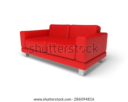 Red sofa isolated on white empty floor background, 3d illustration, perspective view - stock photo