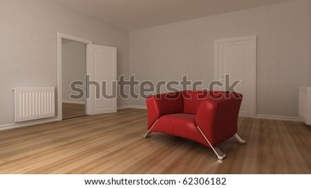 red sofa on wood floor in design interior - stock photo