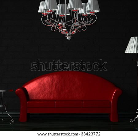 Red sofa, table, chandelier  and standard lamp in  black minimalist interior