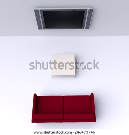 Red sofa with a flat screen TV on the wall - stock photo