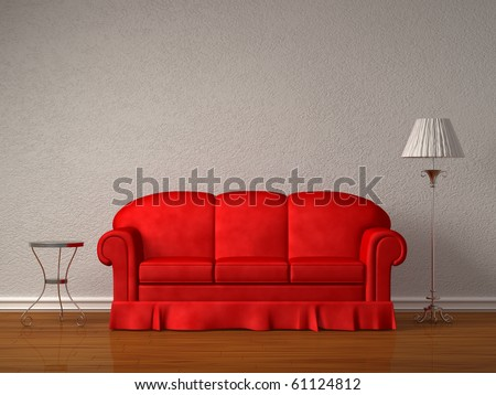Red sofa with table and stand lamp in white minimalist interior