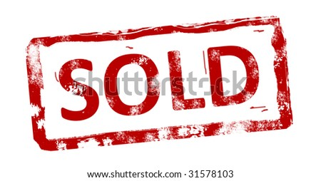 Red sold stamp on white background. Grunge illustration - stock photo