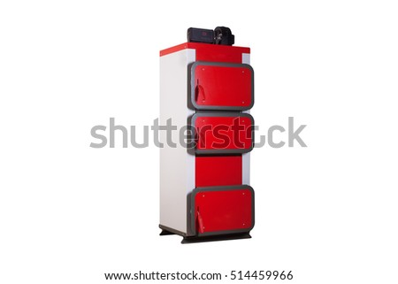 red solid fuel boiler on a white background