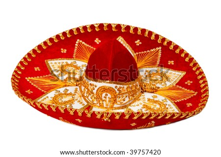 Red sombrero isolated on whit - stock photo
