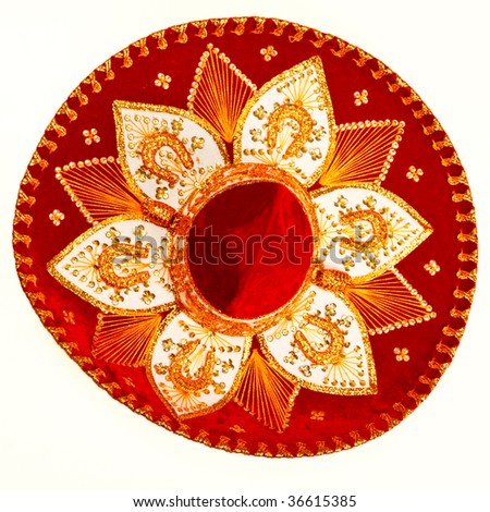 Red sombrero isolated on white - top view - stock photo