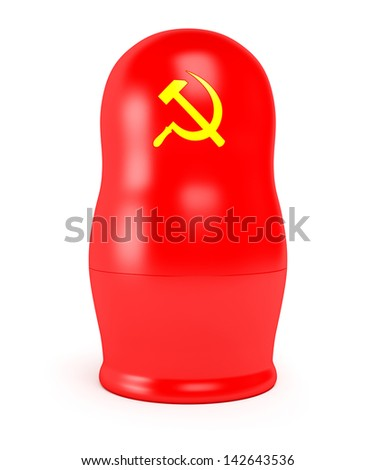 Red Soviet matryoshka. Hammer and sickle nested doll isolated