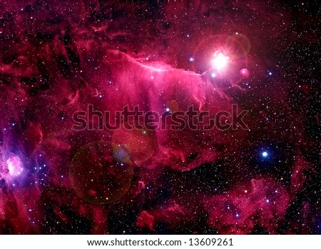 Red Space Nebula - stock photo