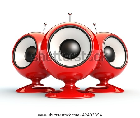 Red speakers. See my portfolio for more similar images. - stock photo