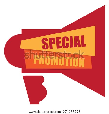 Red Special Promotion Megaphone Banner, Sign, Label or Icon Isolated on White Background - stock photo