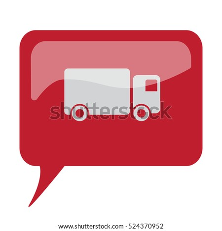 Red speech bubble with white Delivery Truck icon on white background
