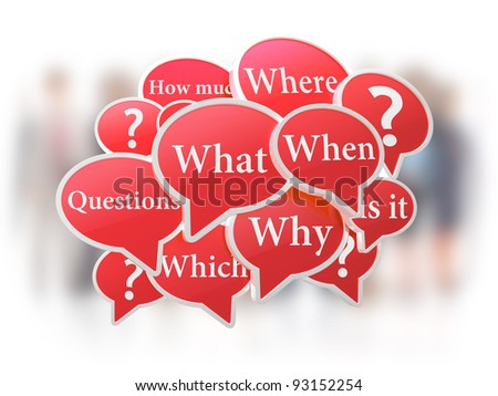 Red speech bubbles with questions - stock photo