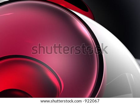 red sphere in silver - stock photo