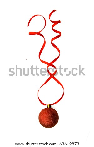 Red sphere on  red ribbon isolated on white - stock photo